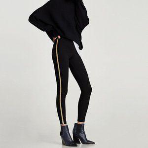 Black leggings w/ Gold Metal Side Stripes Sz S NEW